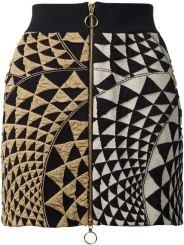 FAUSTO PUGLISI Front Zip Geometric Print Skirt