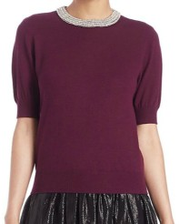Alice + Olivia Pandora Embellished Wool-Blend Sweater