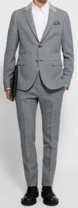 Blue Slim-fit Houndstooth Virgin Wool Suit
