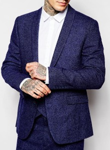 ASOS Slim Suit Jacket In Herringbone With Shawl Lapel