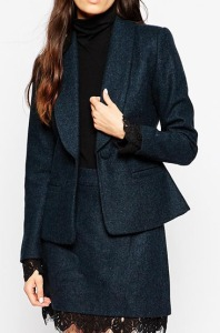 ASOS PETITE Premium Tweed Blazer with Lace Cuff Detail
